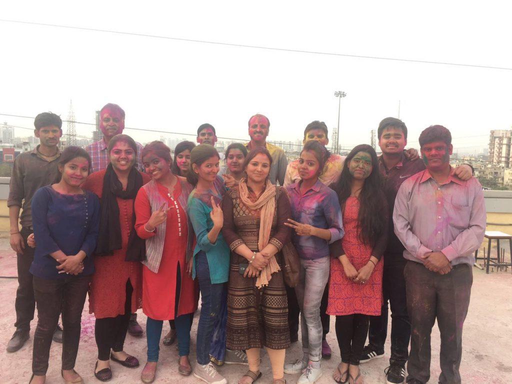 Holi celebration at Indirapuram Center